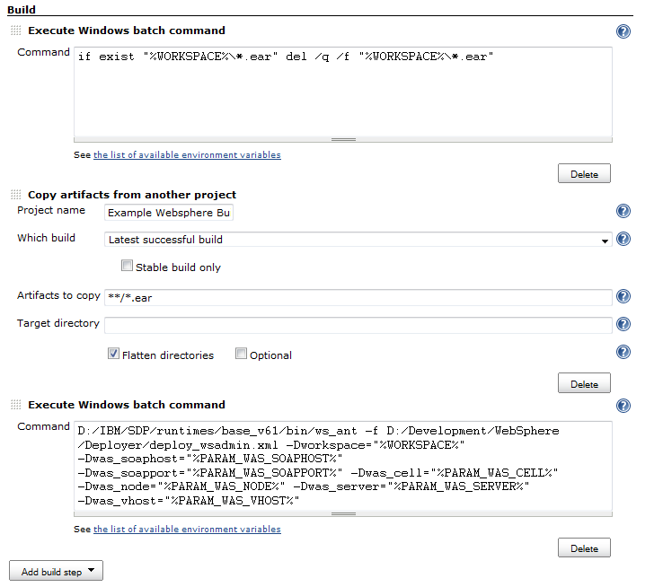 Building and deploying Java WebSphere applications with